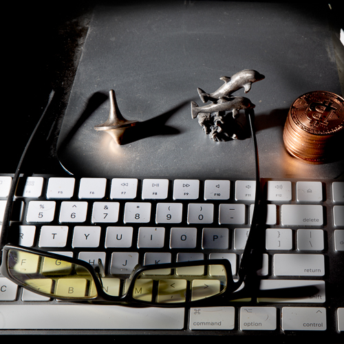 Keyboard with glasses, top, bitcoins